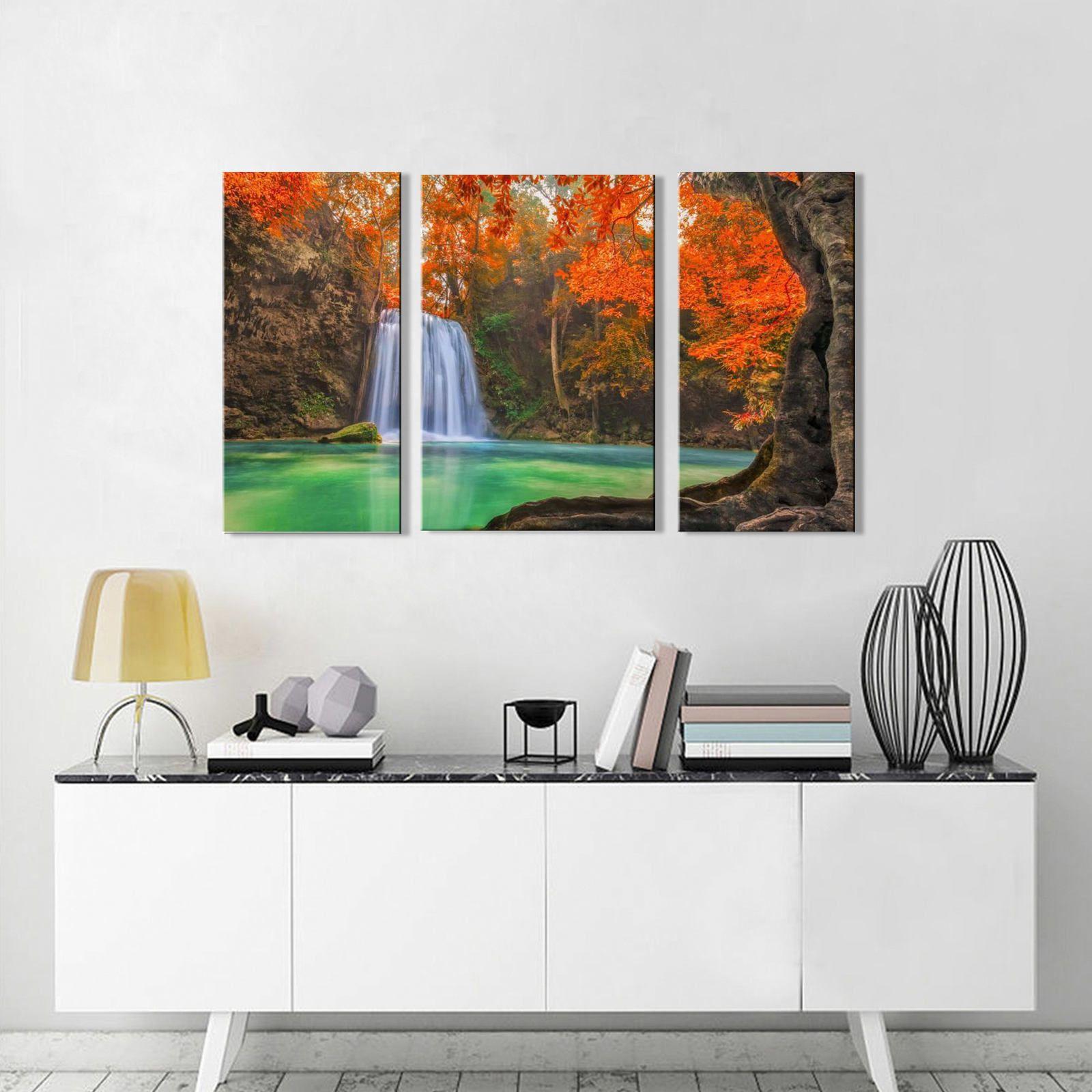 Quadro Decorativo Paisagem Cachoeira com arvore 3 peças