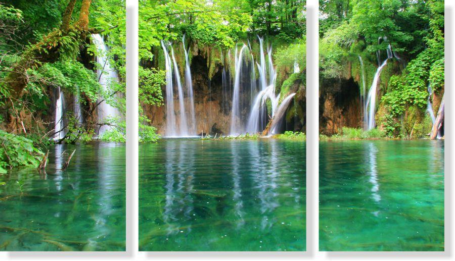 Quadro Decorativo Paisagem Cachoeira Com Rio 3 peças M2