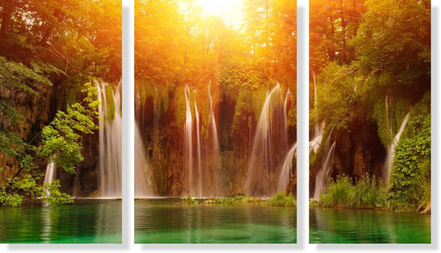 Quadro Decorativo Paisagem Cachoeira Com Rio 3 peças M4