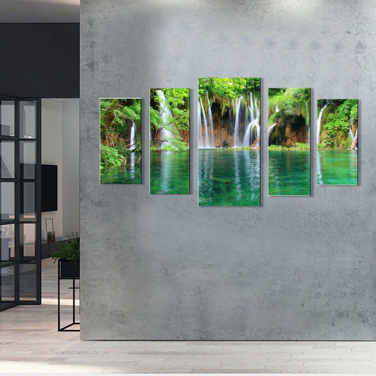 Quadro Decorativo Paisagem Cachoeira Com Rio 5 peças M2