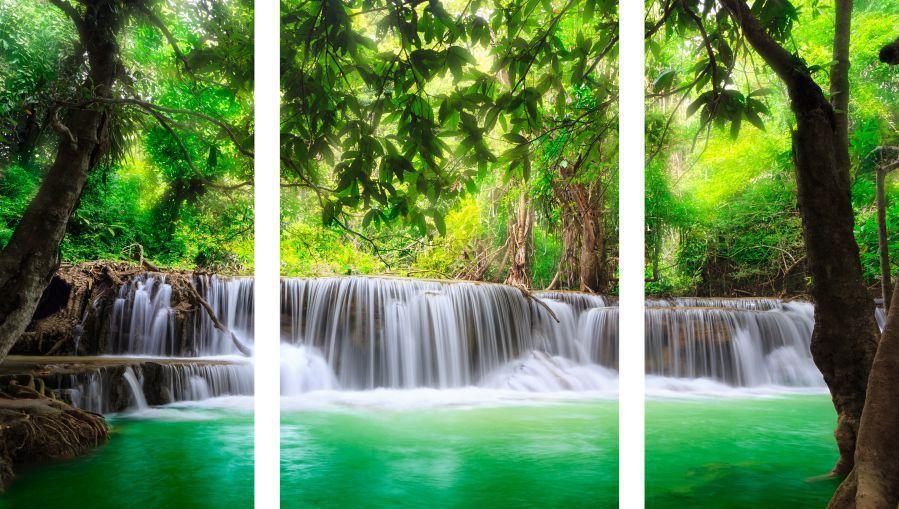 Quadro Decorativo Paisagem Cachoeira Com Rio 3 peças M5