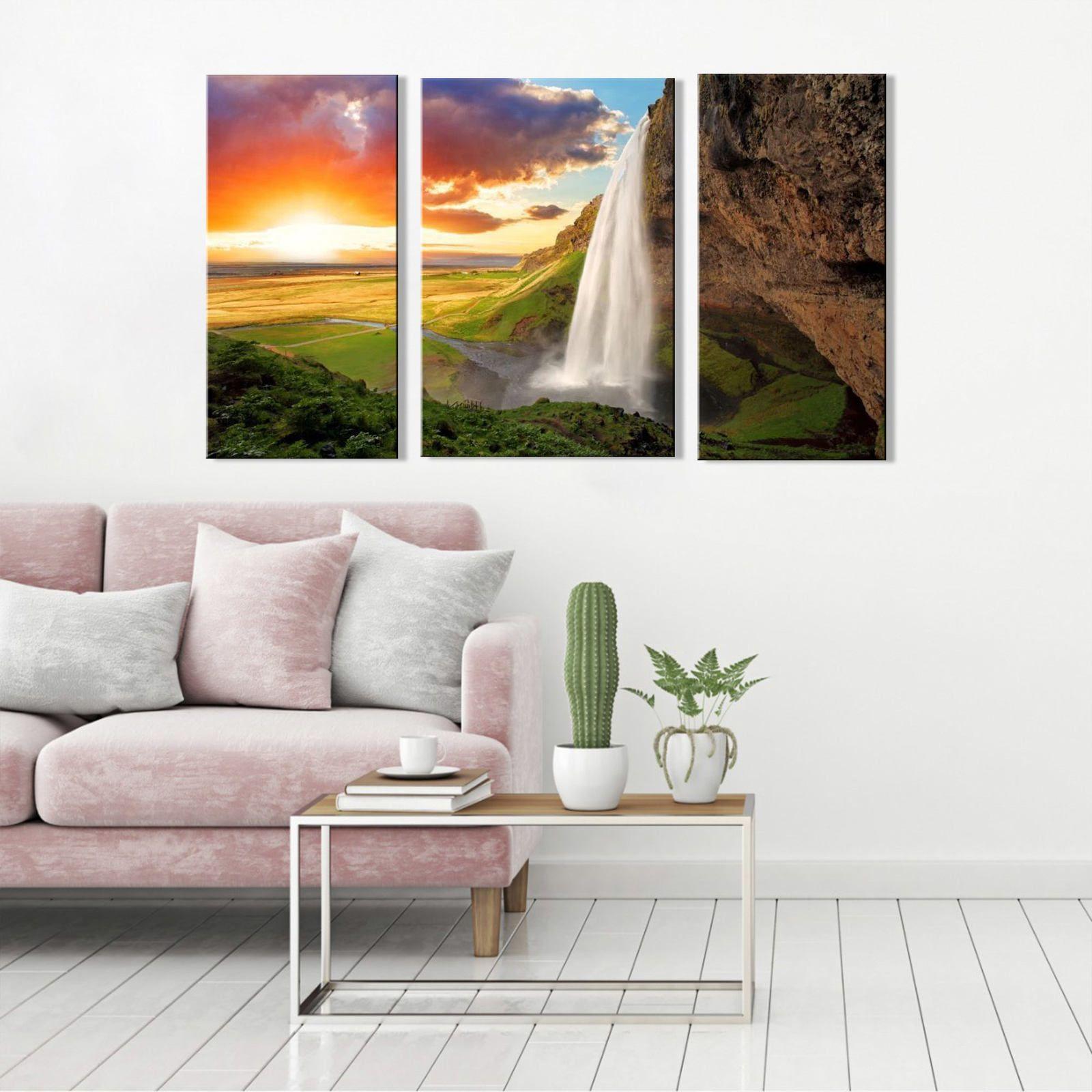 Quadro Decorativo Paisagem Cachoeira Na Montanha 3 peças