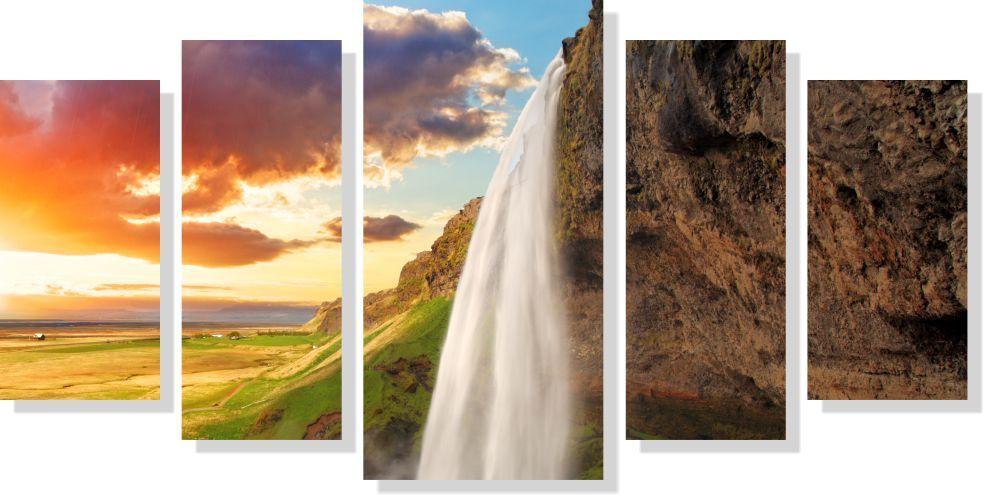 Quadro Decorativo Paisagem Cachoeira Na Montanha 5 peças