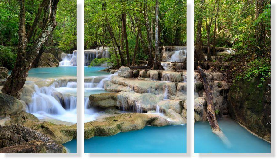 Quadro Decorativo Paisagem Cascata na Floresta 3 peças M2