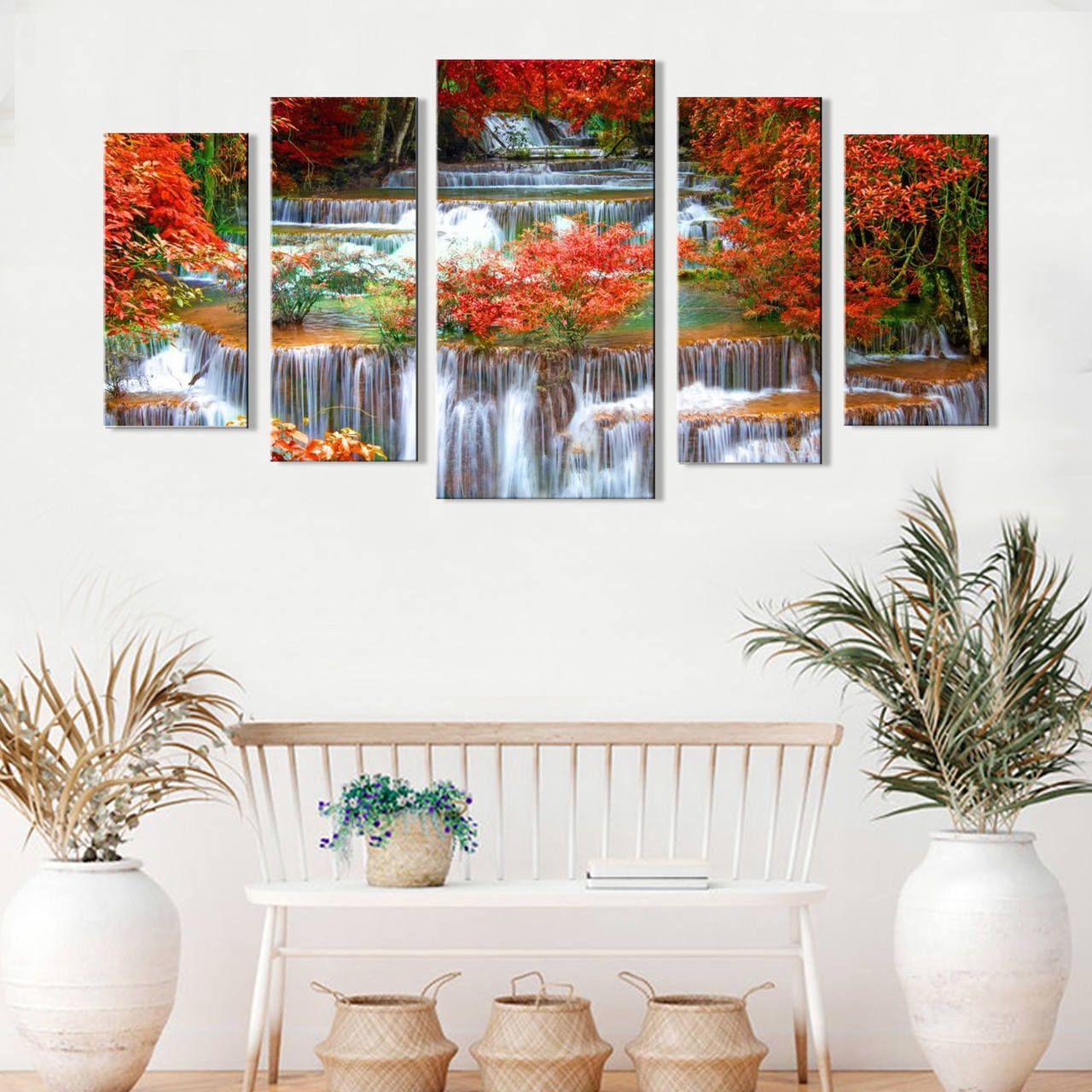 Quadro Decorativo Paisagem Cascata na Floresta 5 peças