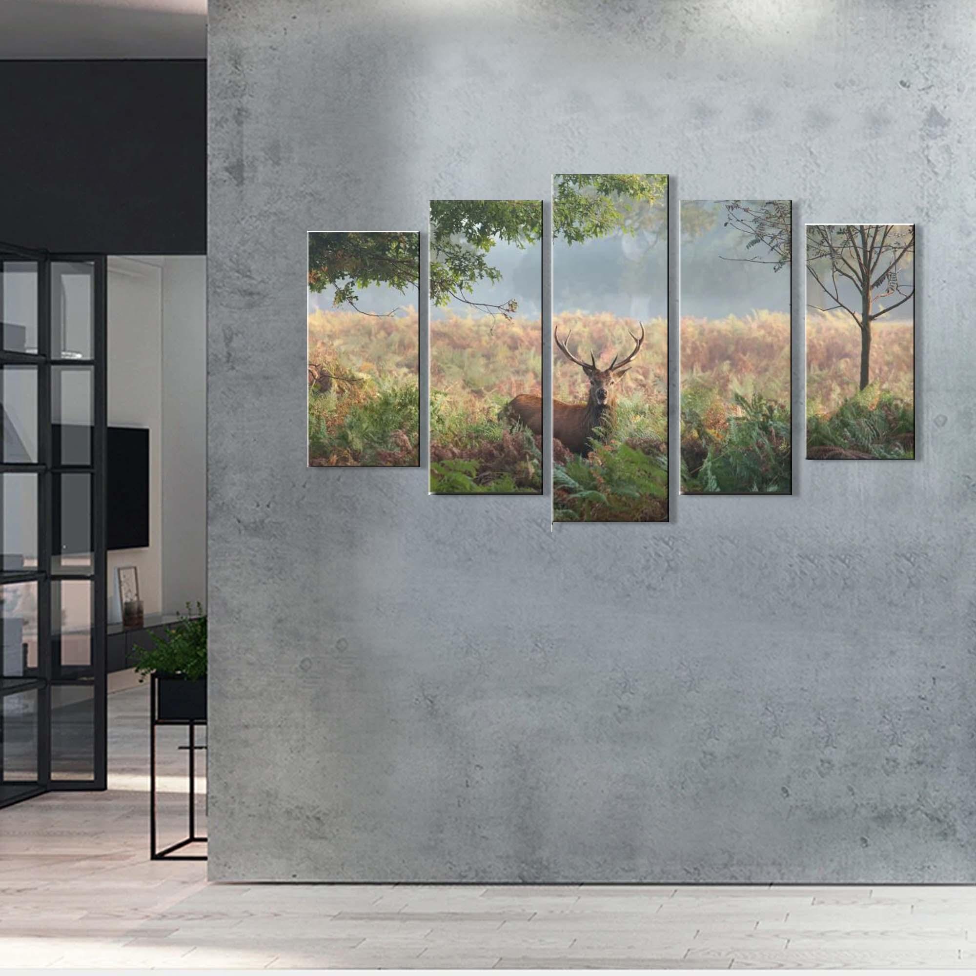 Quadro Decorativo Paisagem cervo  5  Peças Para Sala m4