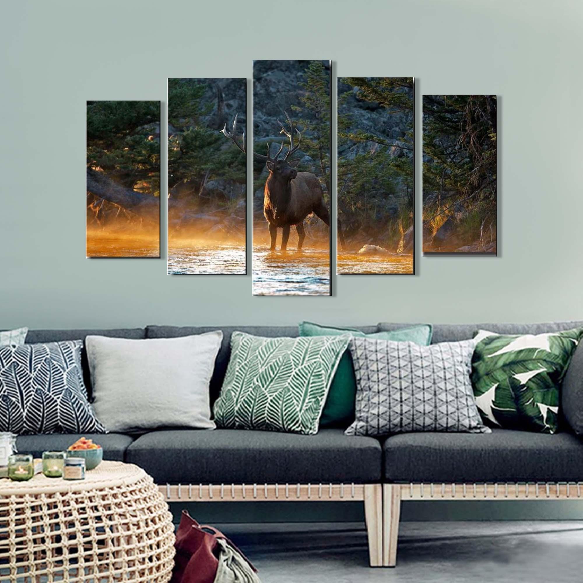 Quadro Decorativo Paisagem cervo 5 peças Para Sala m6