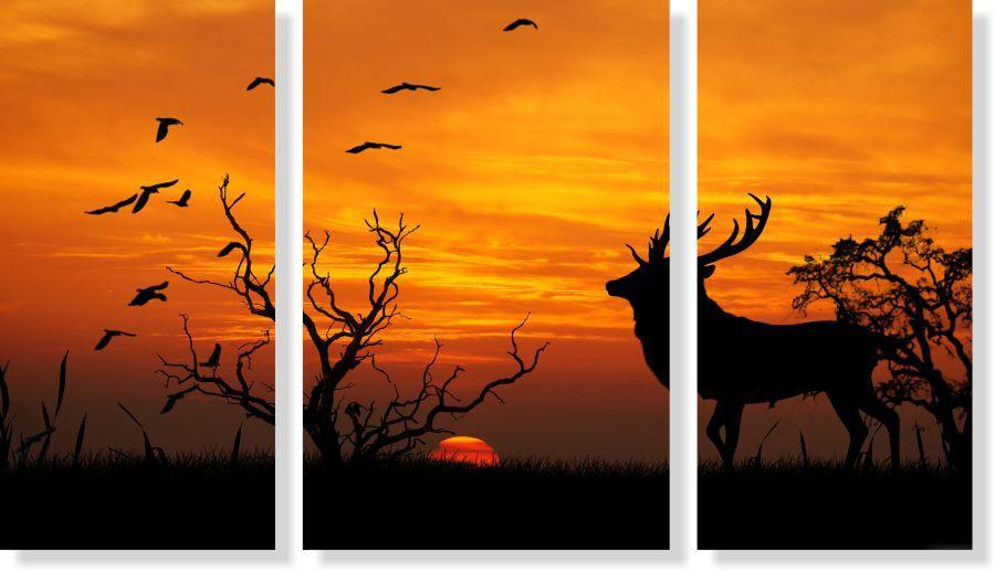 Quadro Decorativo Paisagem Cervo por do sol 3 peças