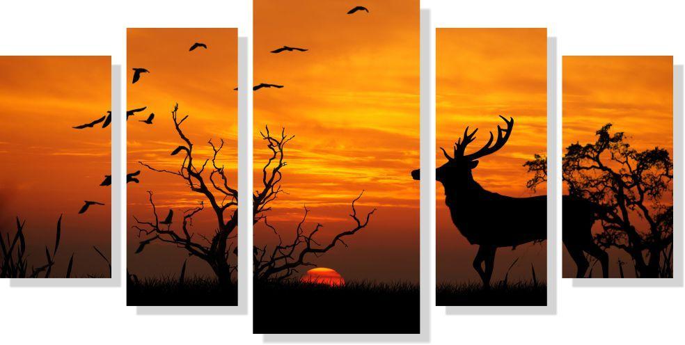Quadro Decorativo Paisagem Cervo por do sol 5 peças