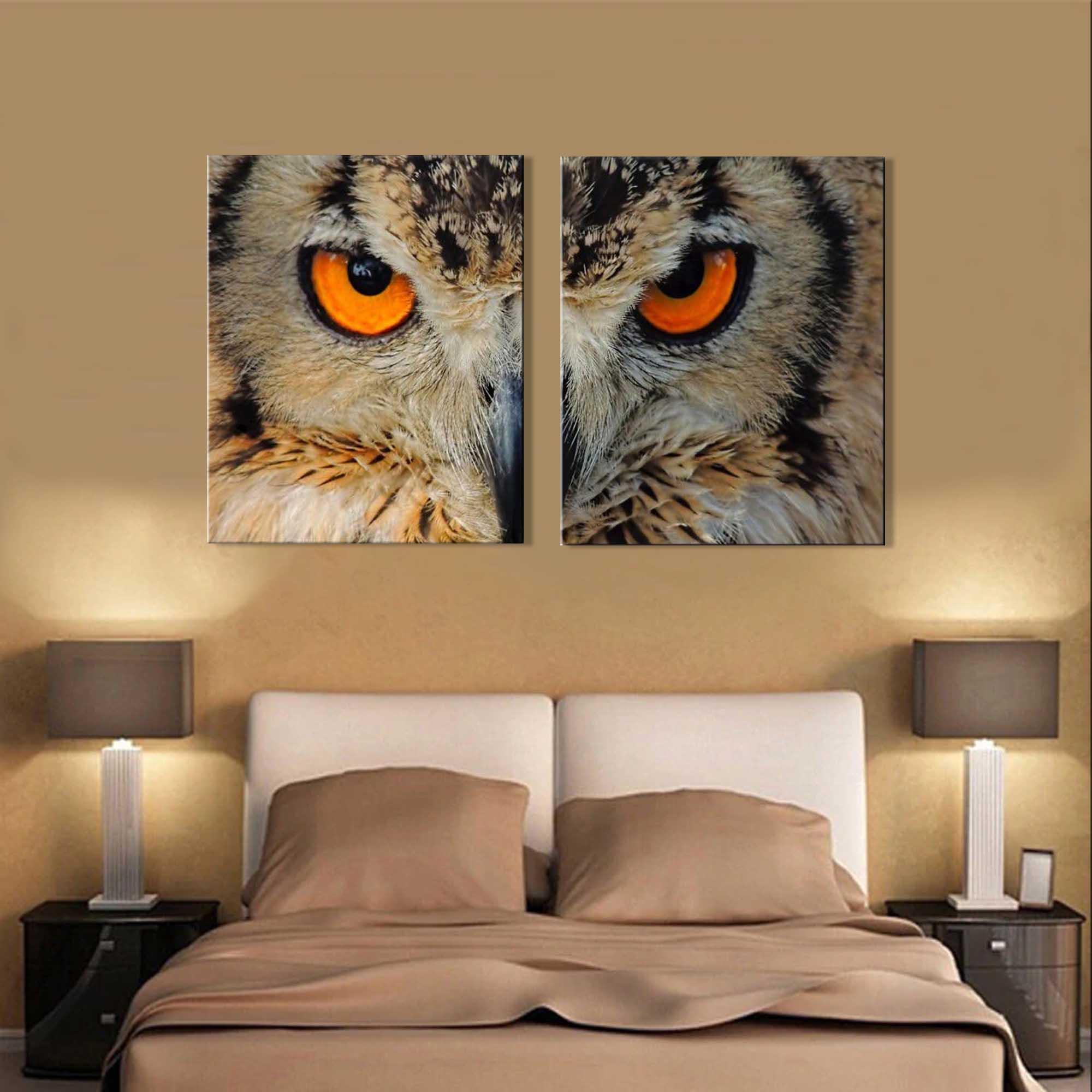 Quadro decorativo paisagem coruja para quartos e salas 2 peças