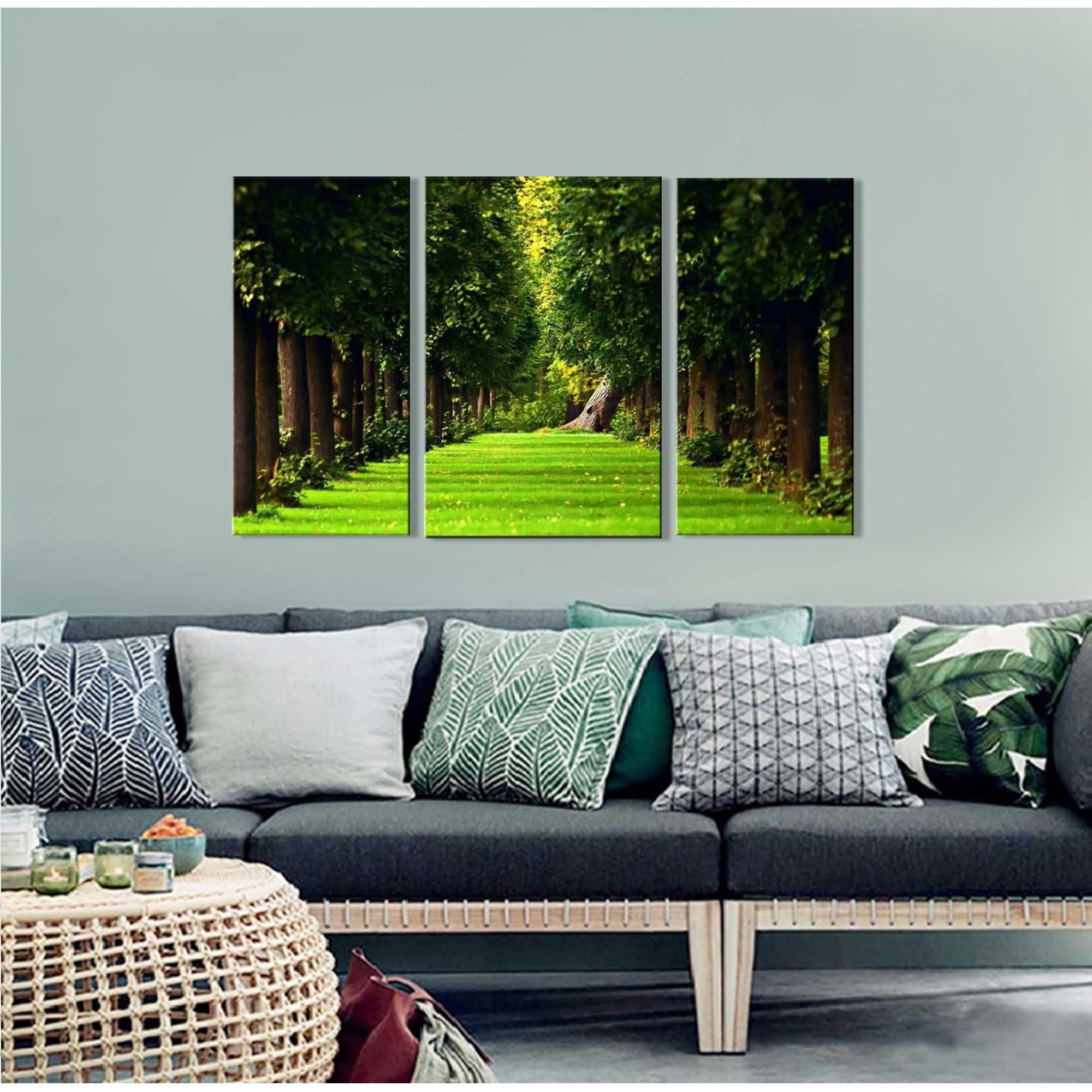 Quadro Decorativo Paisagem Floresta 3 Peças M3