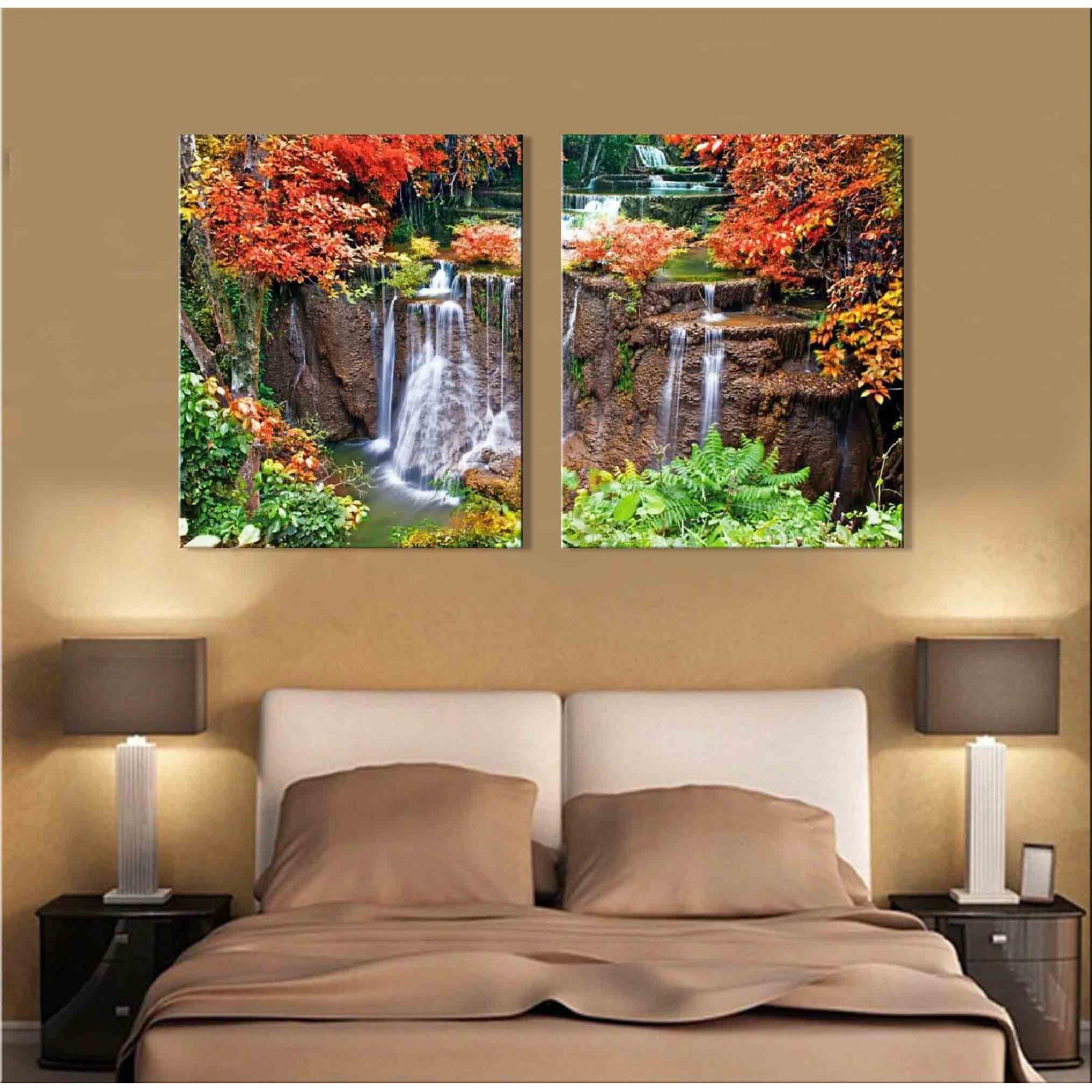 Quadro Decorativo Paisagem Floresta Com Cachoeira 2 Peças