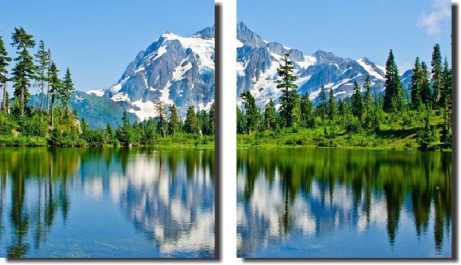 Quadro Decorativo Paisagem Lago Com Montanhas 2 Peças