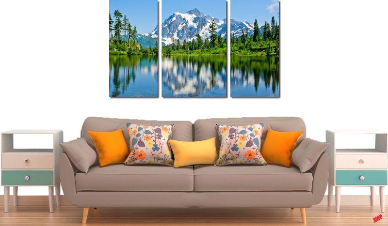 Quadro Decorativo Paisagem Lago Com Montanhas 3 Peças