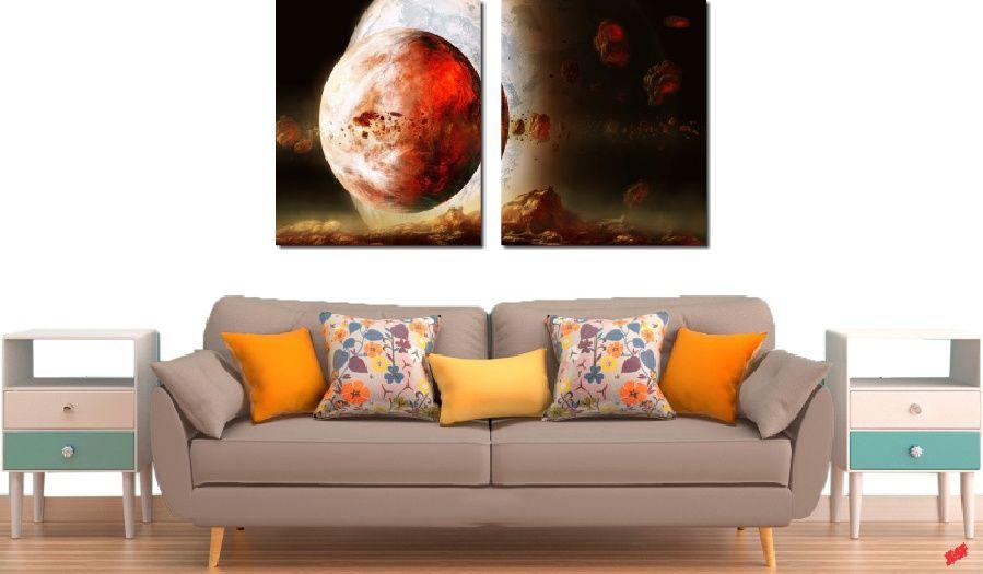 Quadro Decorativo Paisagem Lua Vermelha 2 Peças