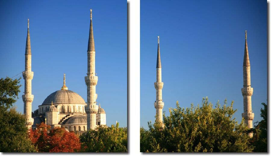 Quadro Decorativo Paisagem Mesquita Azul 2 Peças