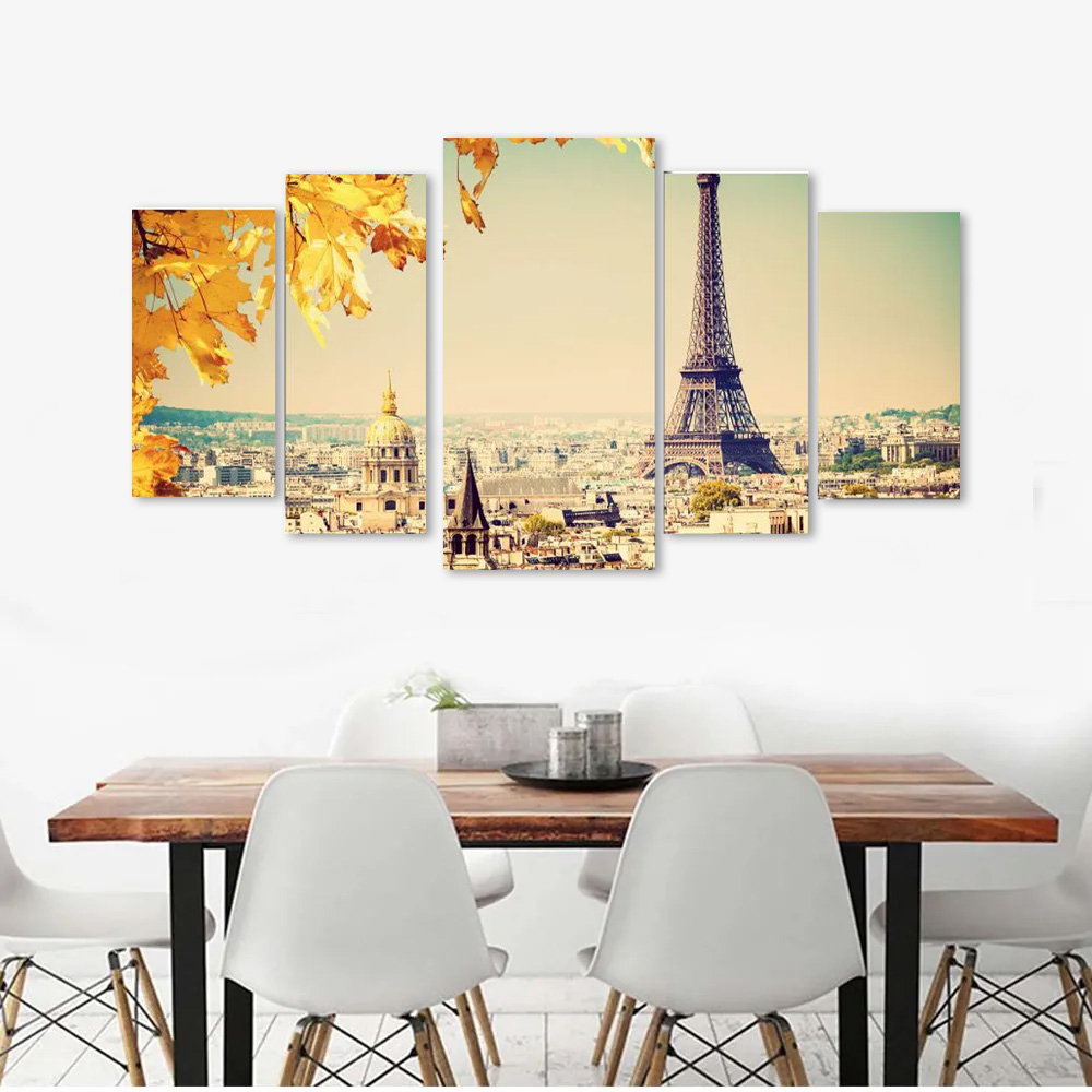 Quadro Decorativo Paisagem Paris sala 5 peças