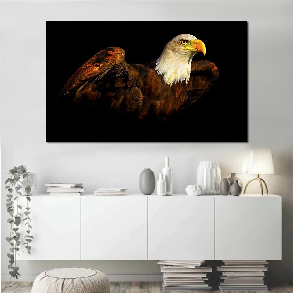 Quadro decorativo paisagem pássaro águia para quarto e sala 1 peça