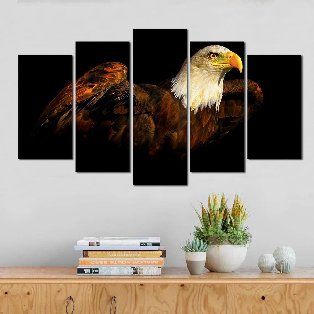 Quadro decorativo paisagem pássaro águia para quartos e salas 5 peças