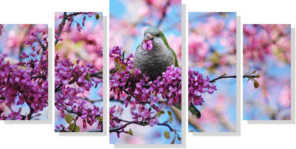 Quadro decorativo Paisagem Pássaro na flor 5 peças