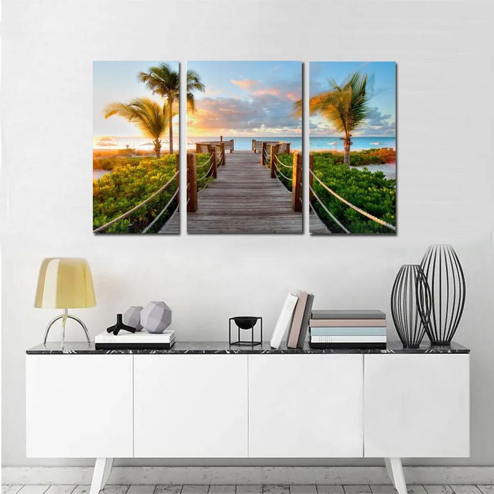 Quadro Decorativo Paisagem Praia 3 Peças M10