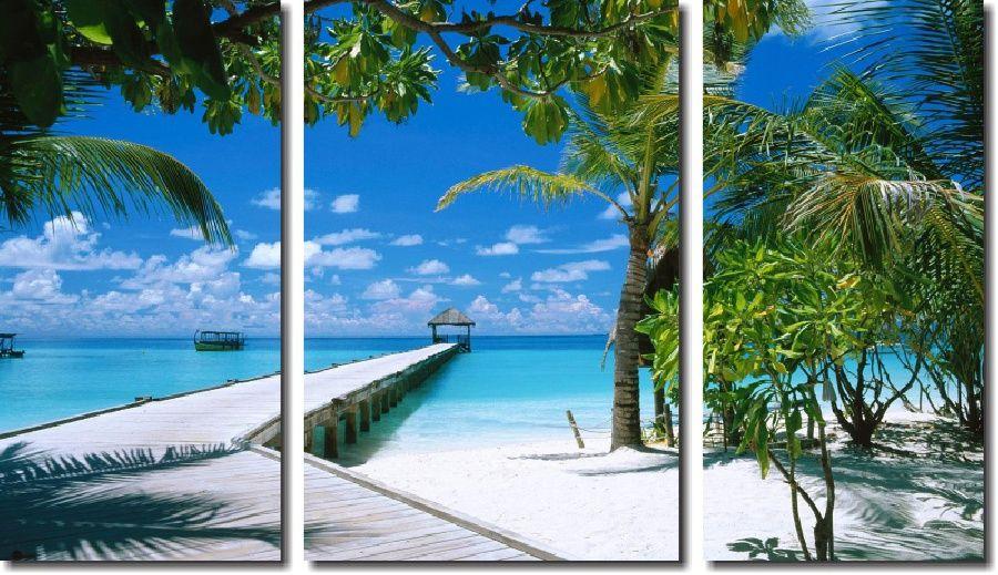Quadro Decorativo Paisagem Praia 3 Peças M12