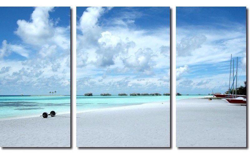 Quadro Decorativo Paisagem Praia 3 Peças M4