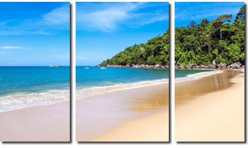 Quadro Decorativo Paisagem Praia 3 Peças M6