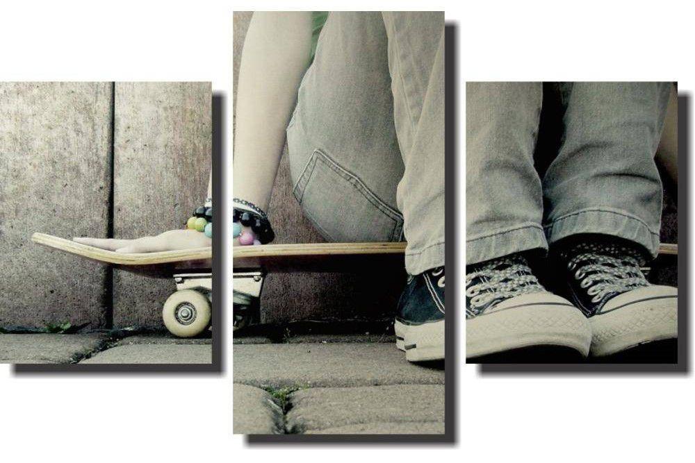 Quadro Decorativo Paisagem Skate 3 Peças