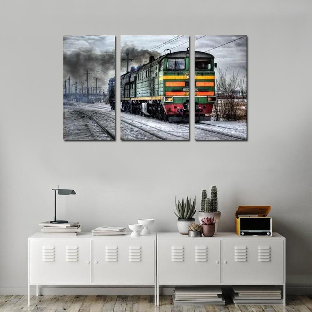 Quadro Decorativo Paisagem Trem Sobre Trilhos 3 Peças sala