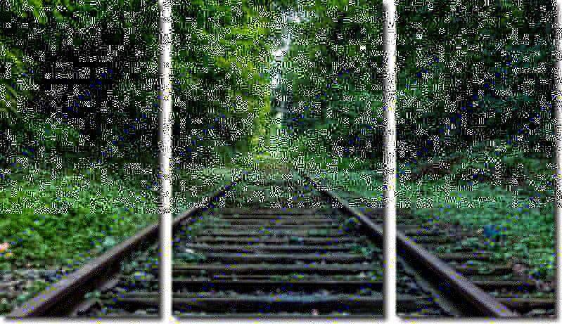 Quadro Decorativo Paisagem Trilho Do Trem 3 Peças