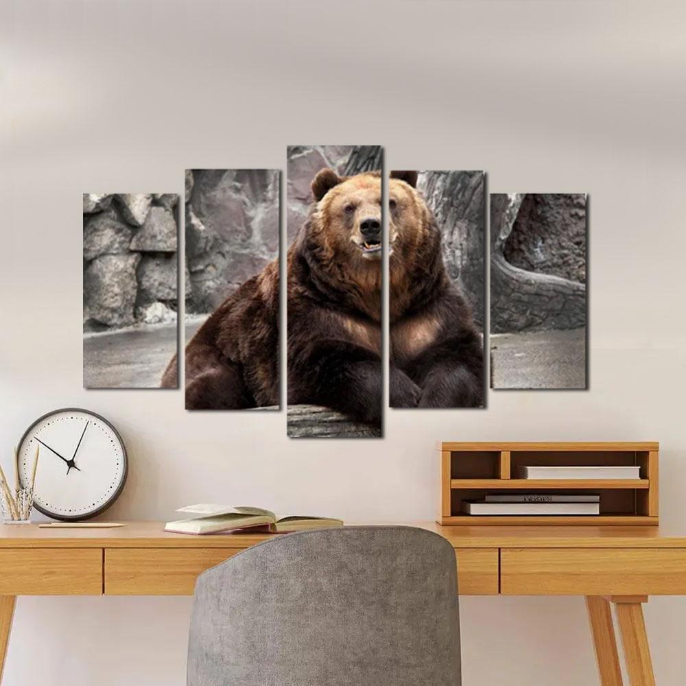 Quadro Decorativo Paisagem Urso 5 Peças para Sala