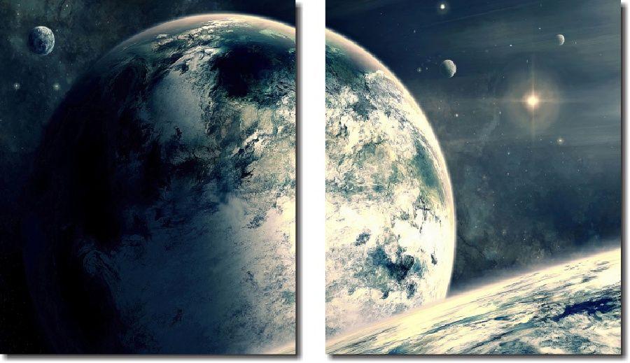 Quadro Decorativo Paisagens Planetas 2 Peças