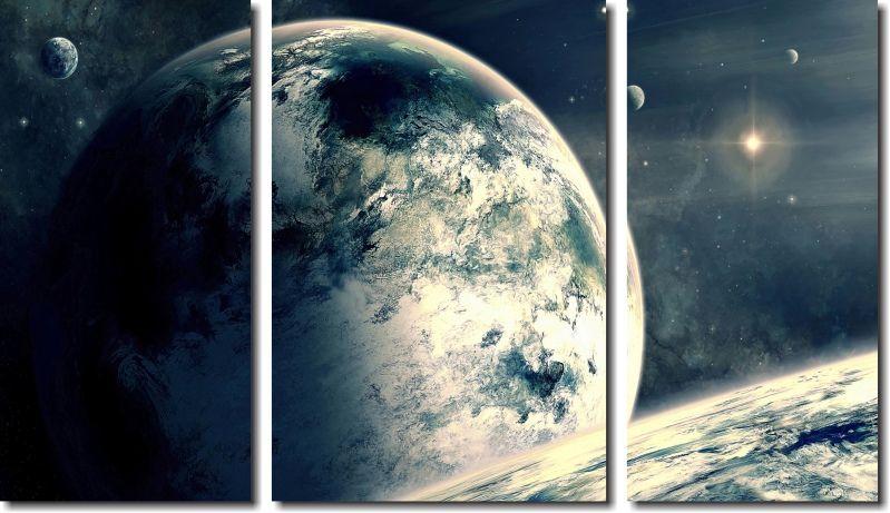 Quadro Decorativo Paisagens Planetas 3 Peças