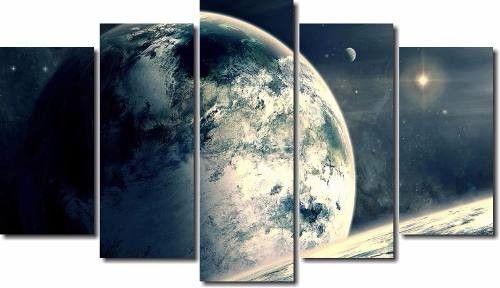 Quadro Decorativo Paisagens Planetas 5 Peças