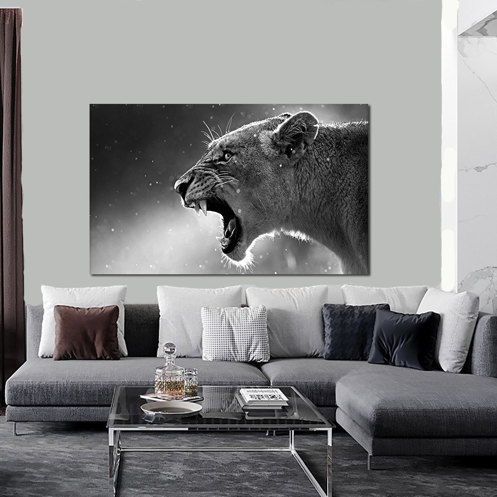 Quadro decorativo para quarto e sala animal onça 1 peça