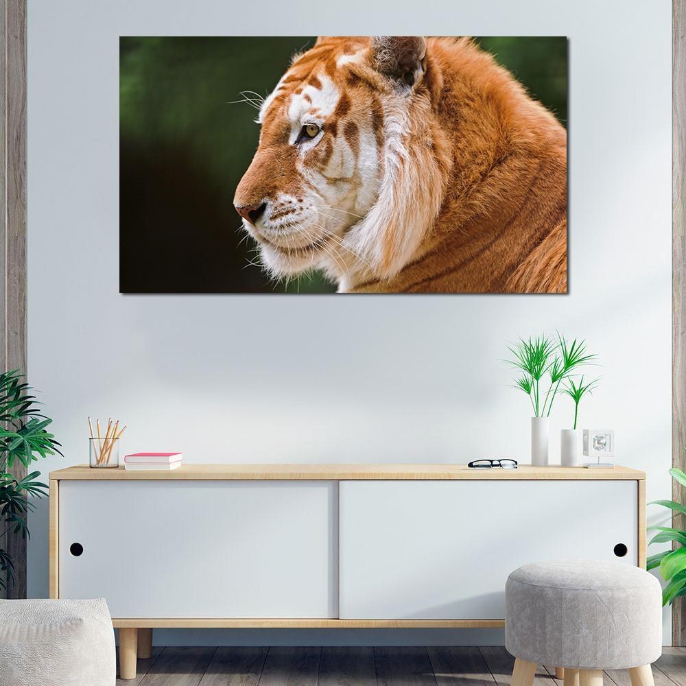 Quadro decorativo para quarto e sala tigre amarelo 1 peça