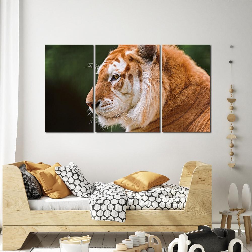 Quadro decorativo para quarto e sala tigre amarelo 3 peças