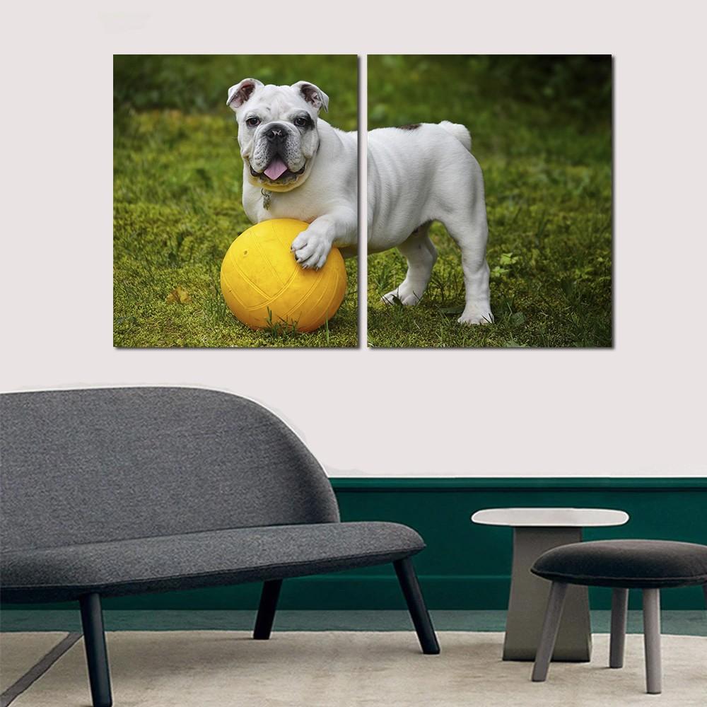 Quadro decorativo para quartos e salas cachorrinho branco 2 peças