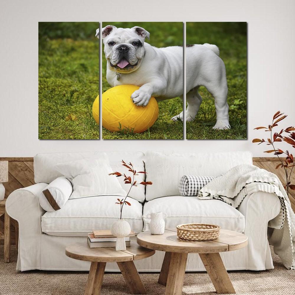Quadro decorativo para quartos e salas cachorrinho branco 3 peças