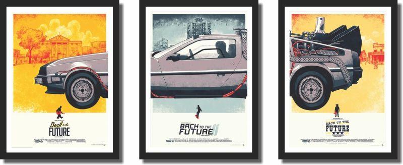 Quadro Decorativo para Sala  Carro de Volta Para o Futuro 3 peças