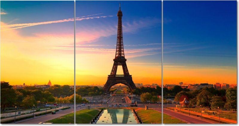 Quadro Decorativo Para Sala Cidade De Paris 3 peças