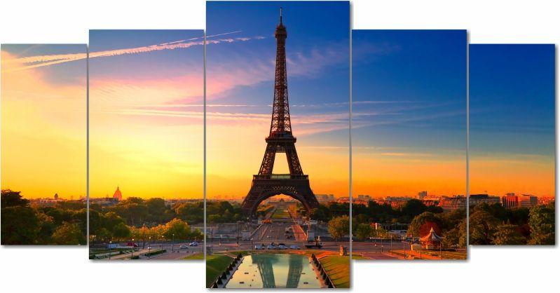 Quadro Decorativo Para Sala Cidade De Paris 5 peças