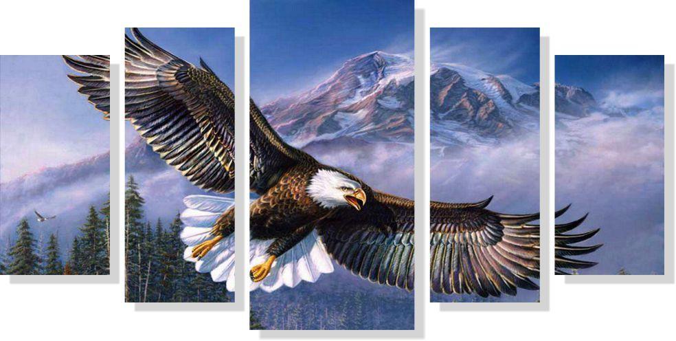 Quadro decorativo Pássaro Águia 5 peças
