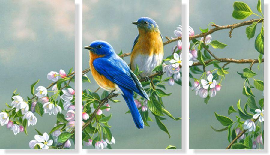 Quadro Decorativo Pássaros com flores 3 peças