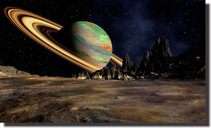 Quadro Decorativo Planeta Saturno 1 peça