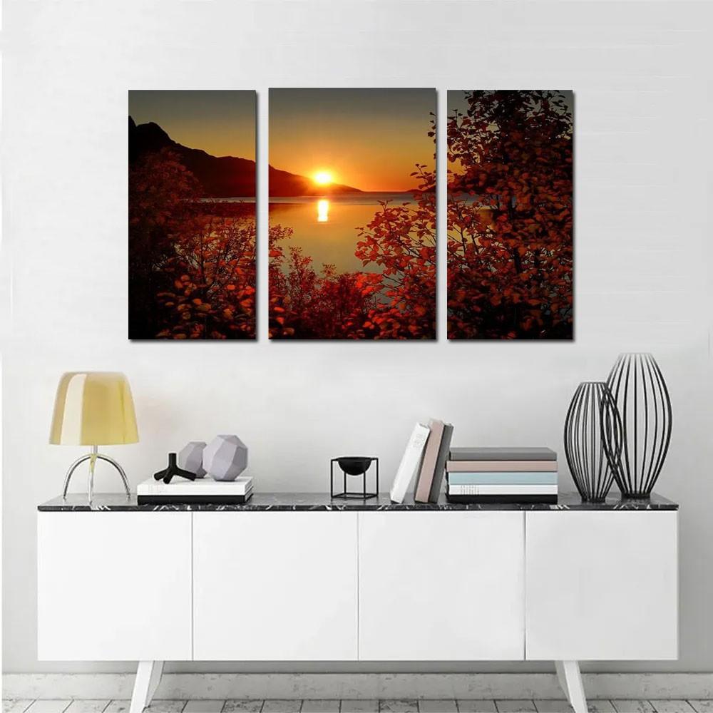 Quadro Decorativo Por Do Sol 3 Peças