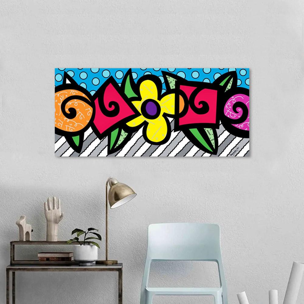 Quadro Decorativo Romero Britto Flores