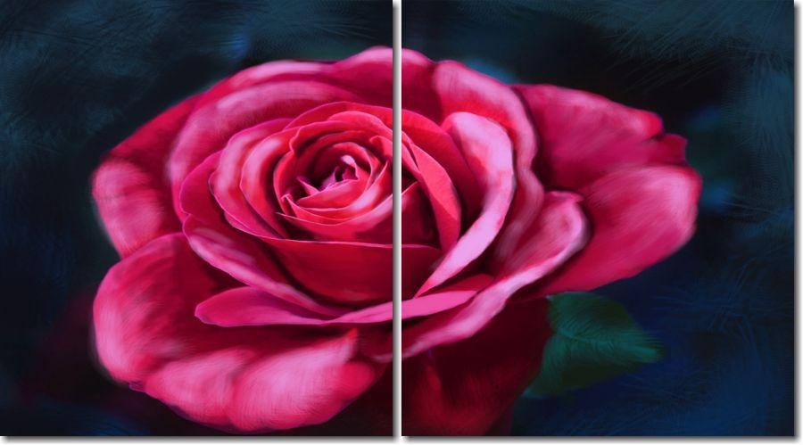Quadro Decorativo Rosa Estilo Pintura 2 peças