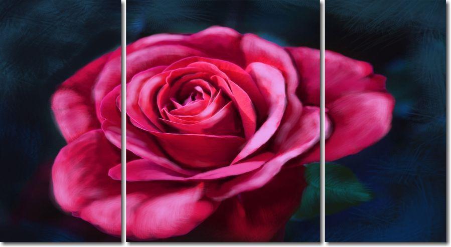 Quadro Decorativo Rosa Estilo Pintura 3 peças